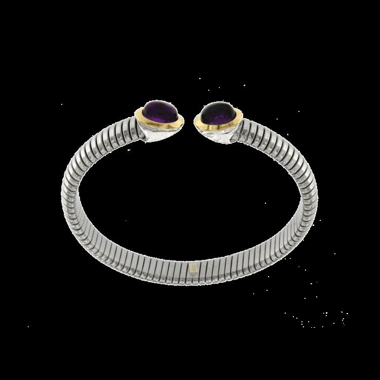 Bracciale tubogas acciaio-oro ametista