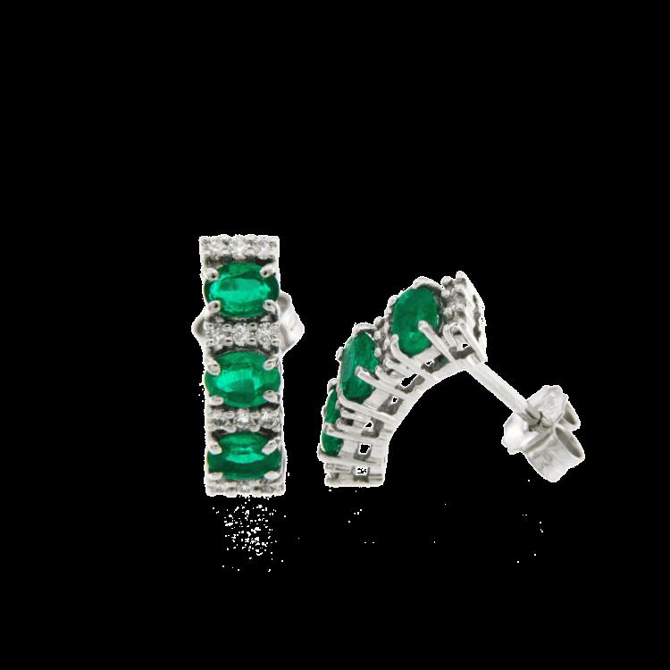 Orecchini Trilogy color smeraldi brillanti
