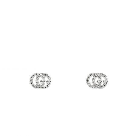 Orecchini GG Running Gucci in oro bianco 18kt e diamanti