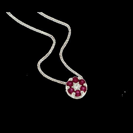 COLLANA FLOWERS diamante e rubini naturali