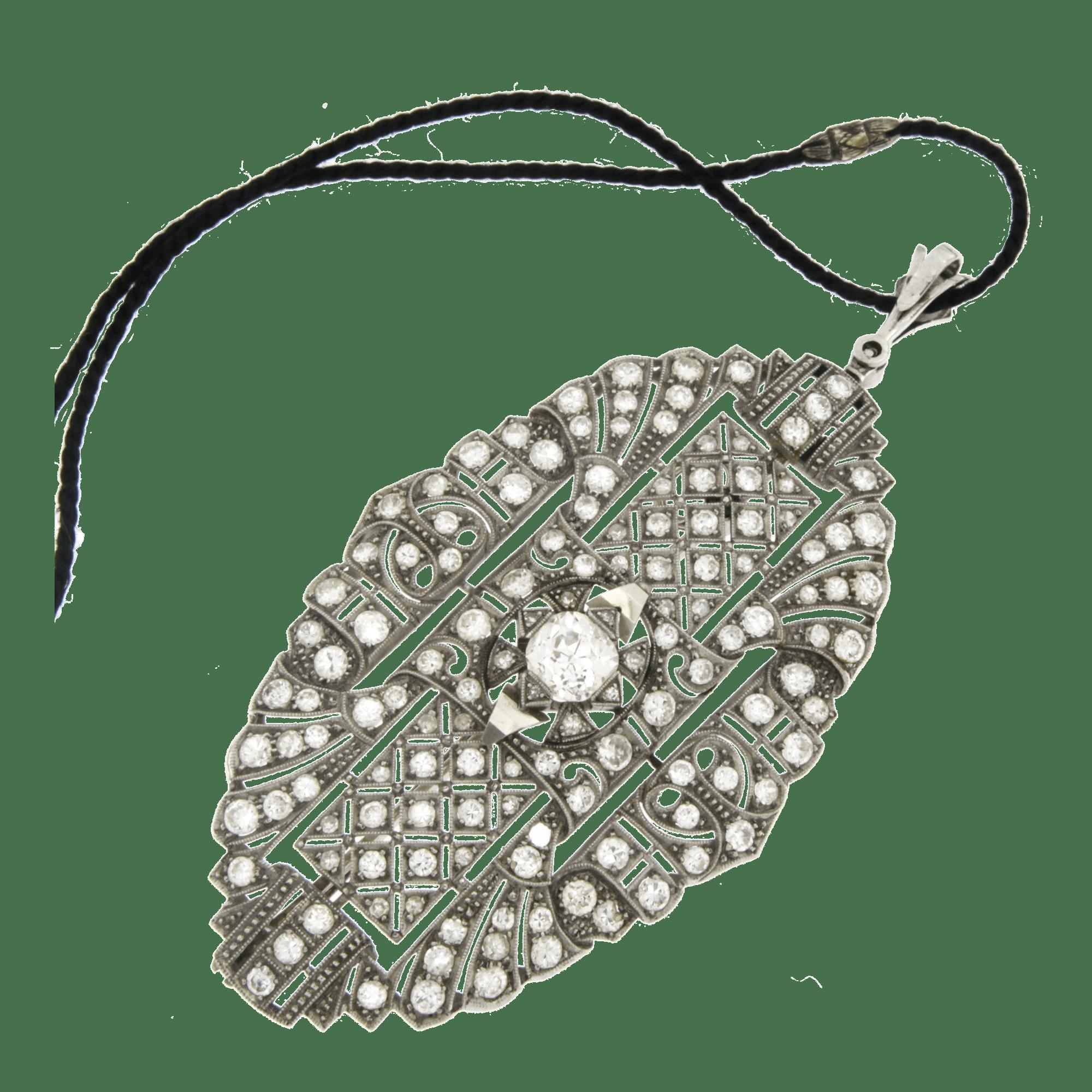 Spilla vintage Ciondolo diamanti