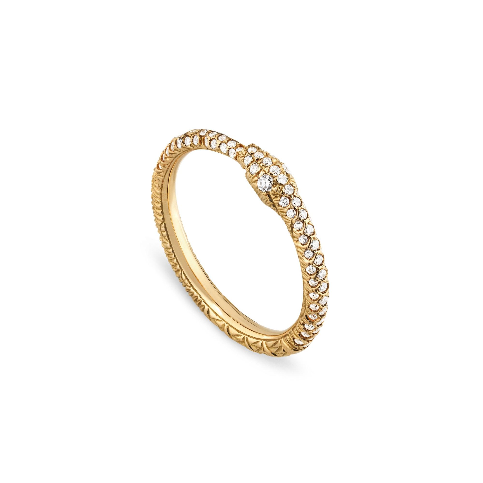 Anello Gucci Ouroboros in oro e diamanti