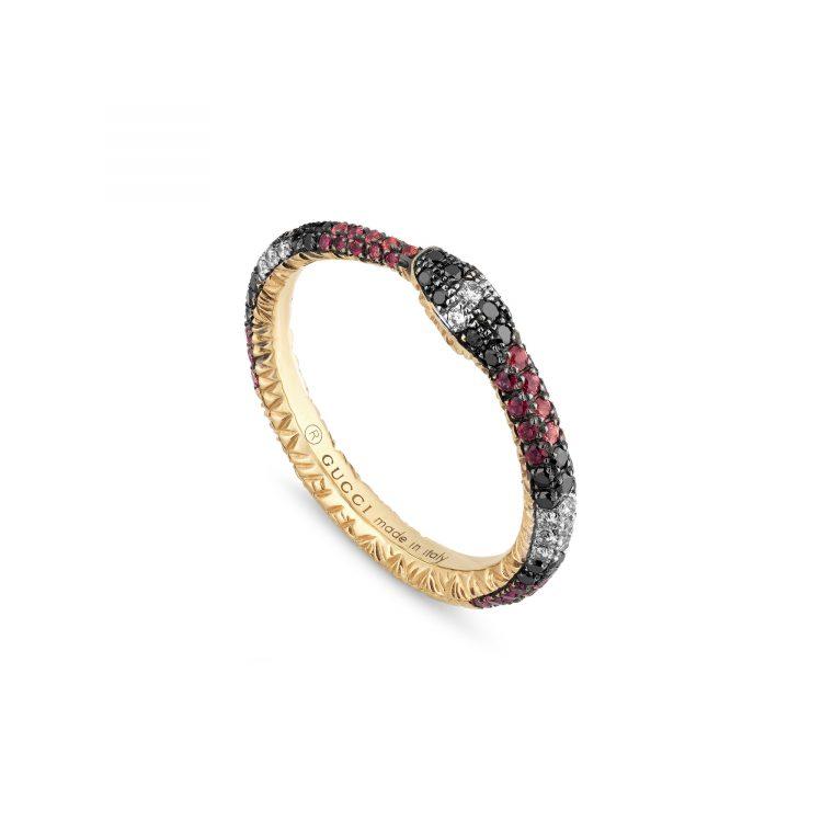 Anello Gucci Ouroboros oro e pietre