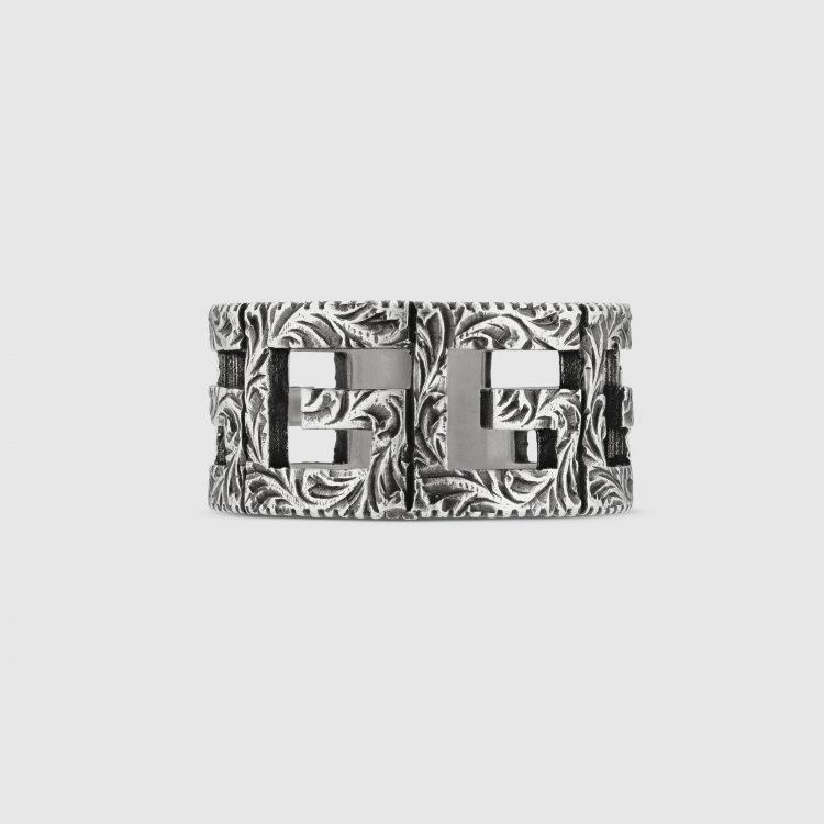 Anello Gucci G Quadro in argento