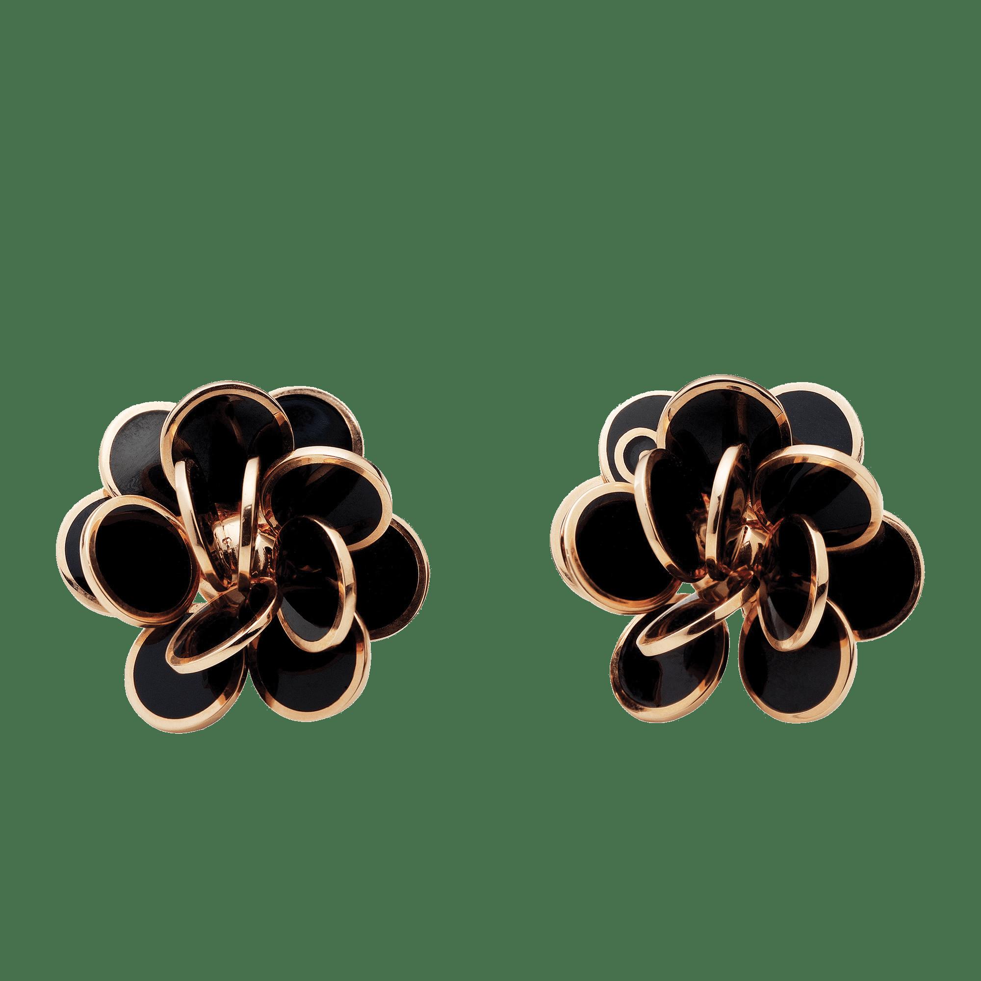 Orecchini Chantecler oro rosa smalto nero