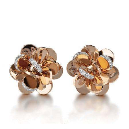 Chantecler Orecchini fiore piccolo oro rosa e diamanti