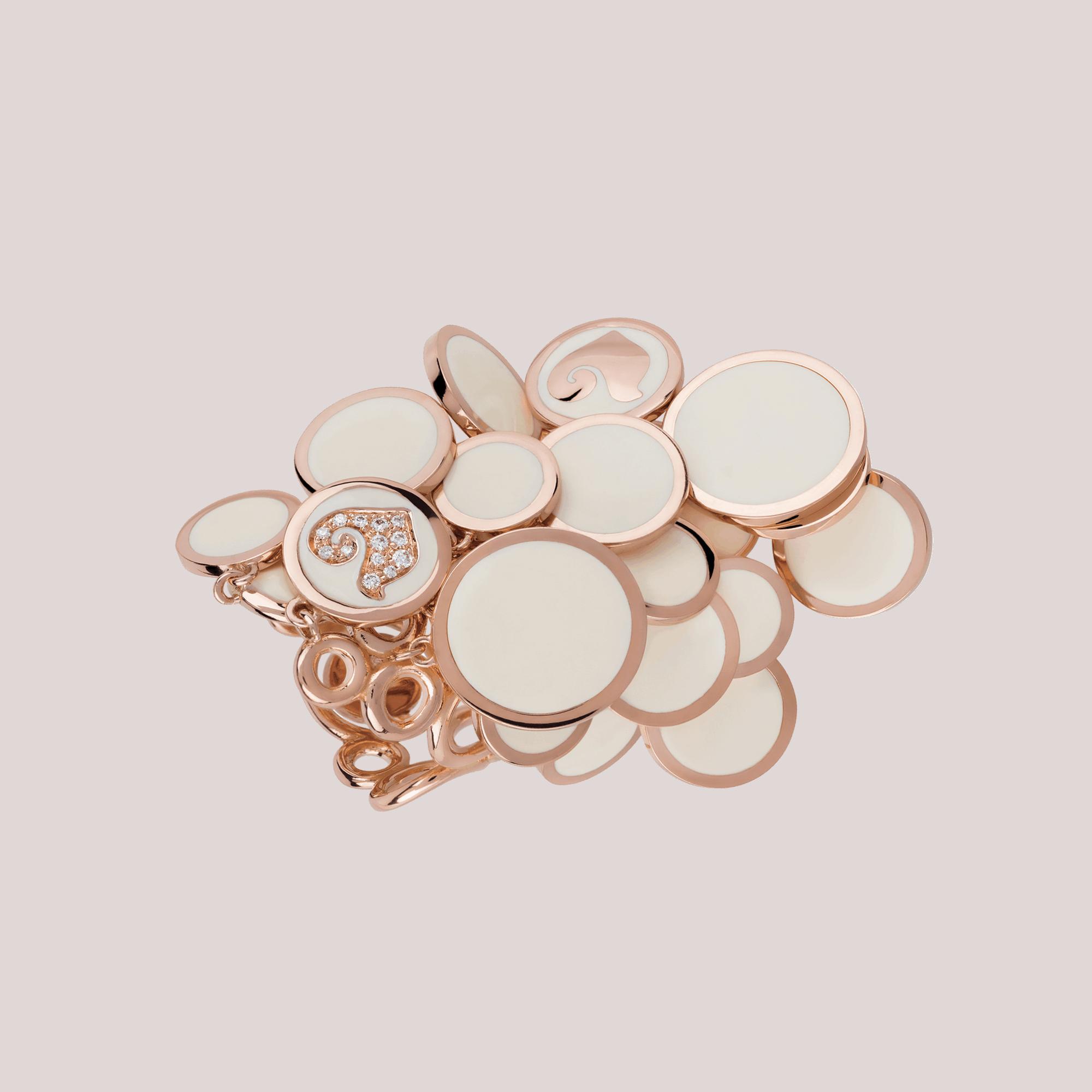 Anello CHANTECLER Paillettes oro rosa diamanti