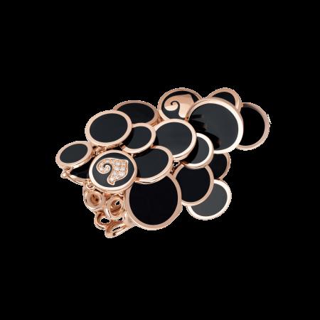 Anello CHANTECLER Paillettes oro rosa diamanti e smalto nero