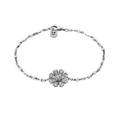 Gucci Flower bracelet with diamonds and pearls bracciale diamanti perle sconto discount