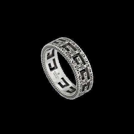 GUCCI Silver ring with Square G argento anello gucci sconto discount