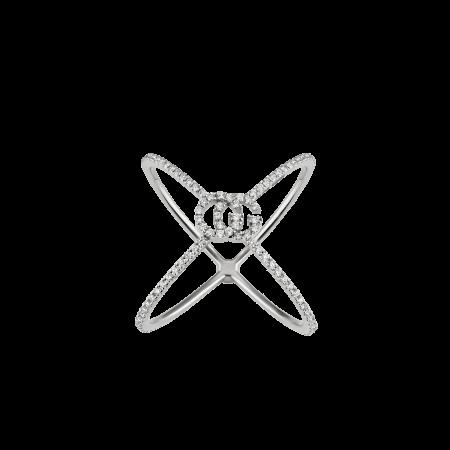 Anello Gucci a X - GG Running con diamanti