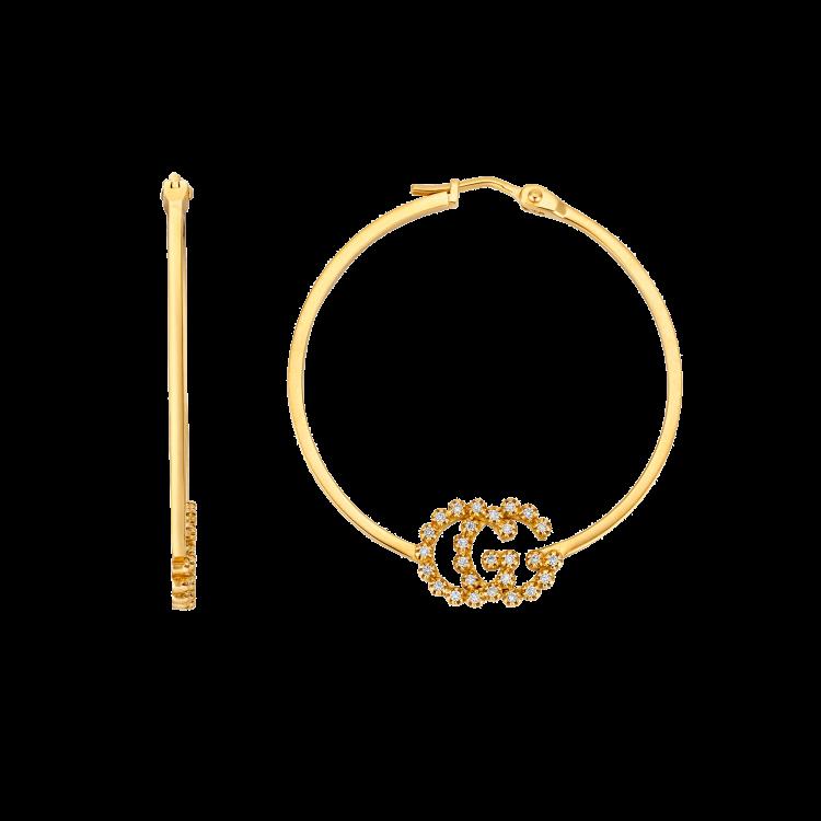 Orecchini Cerchi Gucci GG Running con diamanti