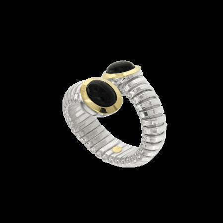 Anello tubogas contrariè argento oro onice