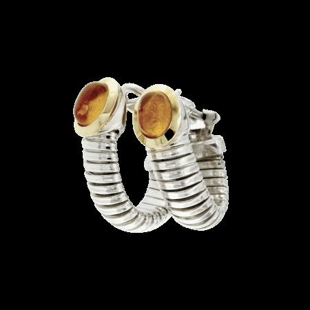 Orrecchini argento e oro tubogas earrings silvar