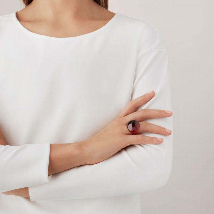 Anello Cabochon Lalique Rosso