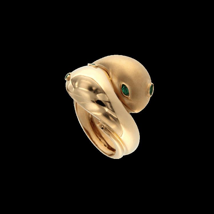 Anello serpenti '70 in oro rosa lucido e sabbiato 4 smeraldi