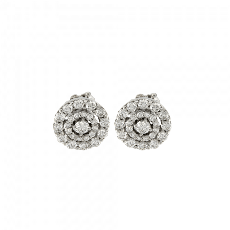 Orecchini Circles in oro bianco e brillanti