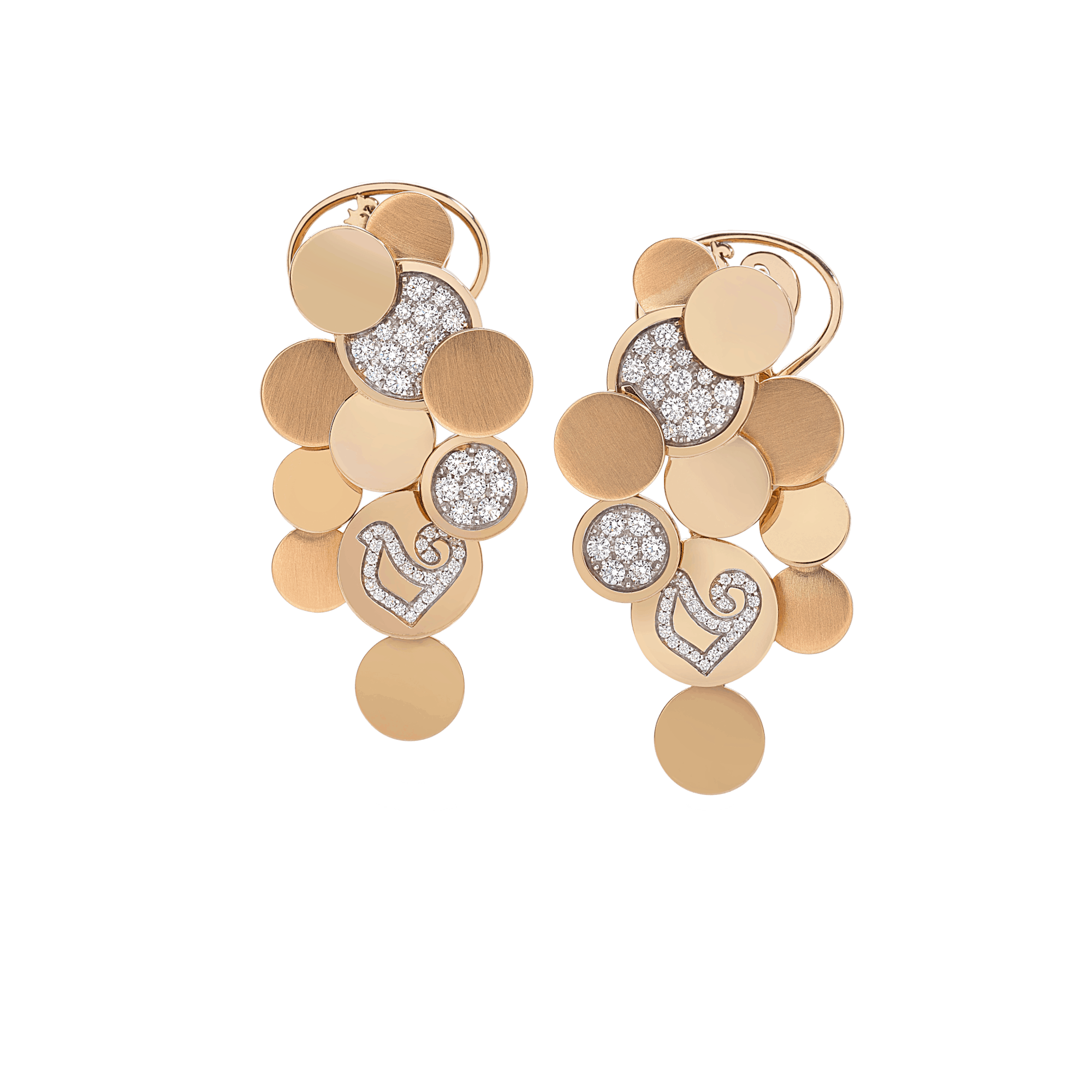 Chantecler Orecchini Paillettes oro rosa diamanti