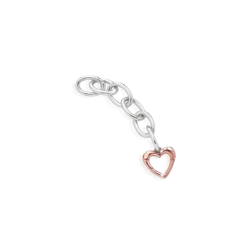 Link argento moschettone cuore oro rosa Le Bebè