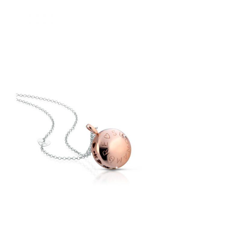 Ciondolo argento placcato oro rosa Luna e catena Le Bebè