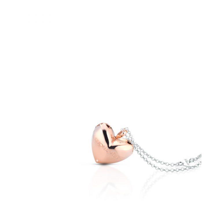 Ciondolo Cuore catena placcato oro rosa Le Bebè