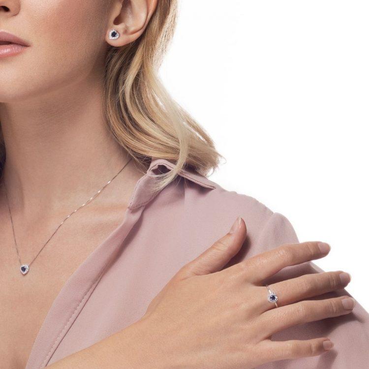 AGRT9Z anello diamanti zaffiro cuore heart diamond sapphires sconto discount