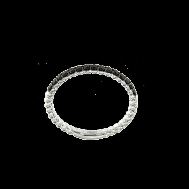 Anello veretta con brillanti neri