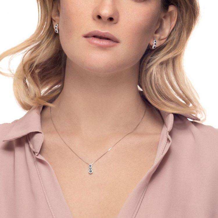 E176366Z orecchini diamanti zaffiri sapphires diamonds earrings sconto discount