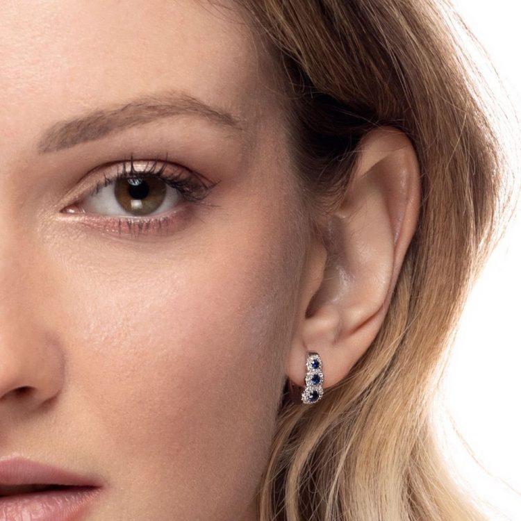 Orecchini diamanti e zaffiri a E176366Z errings sapphires discount