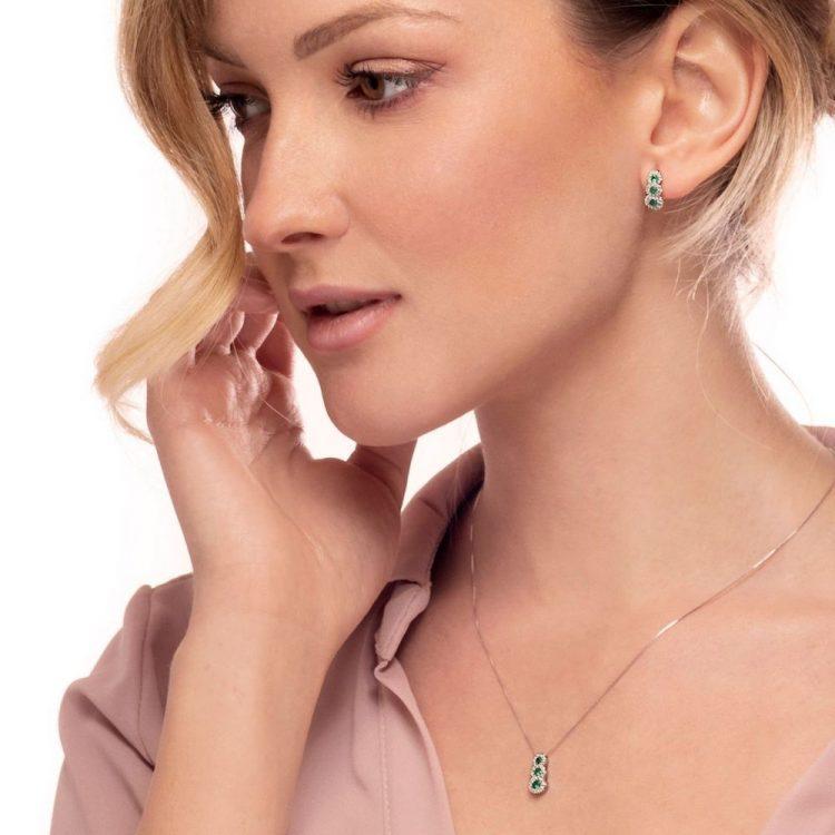 Orecchini diamanti smeraldi E176366S earrings emeralds diamonds sconto discount