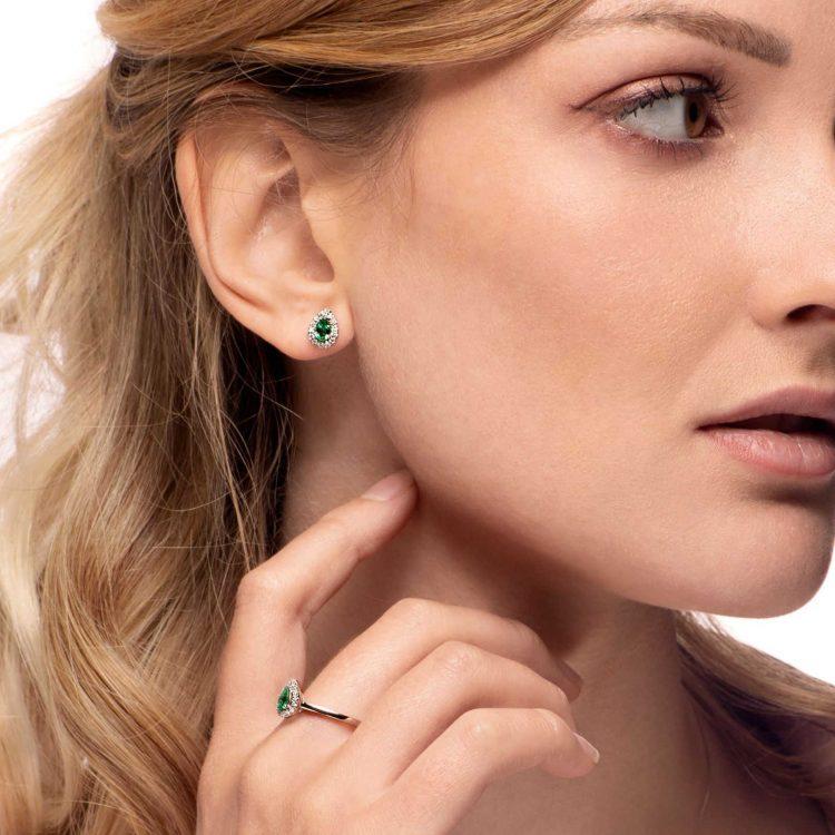 Orecchini diamanti smeraldi EGOC9S earrings diamonds emeralds sconto discount