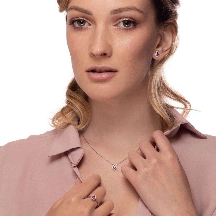 Collana anello necklace ring Orecchini rubini diamanti b earrings ruby diamonds sconto discount