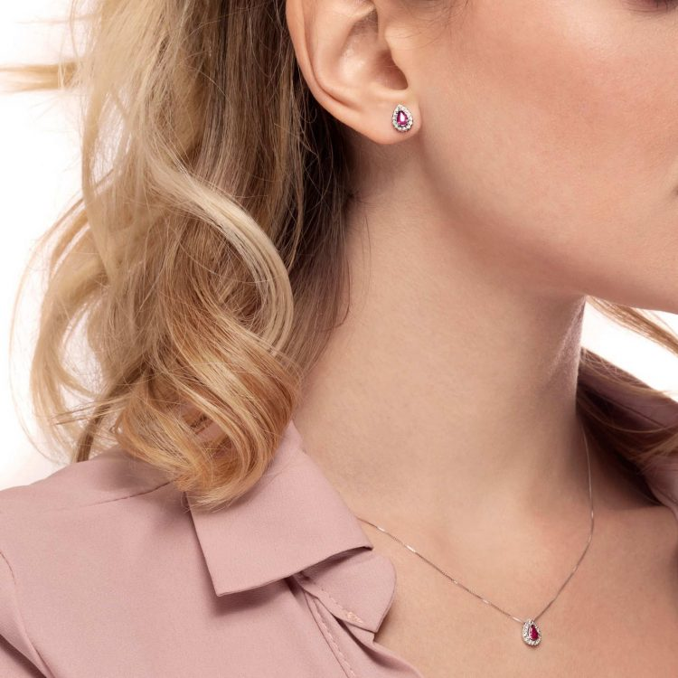 Orecchini rubini diamanti b earrings ruby diamonds sconto discount
