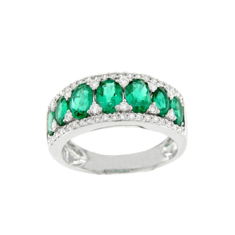 Anello smeraldi diamanti emerald ring diamonds sconto discount Bon Ton R12085S