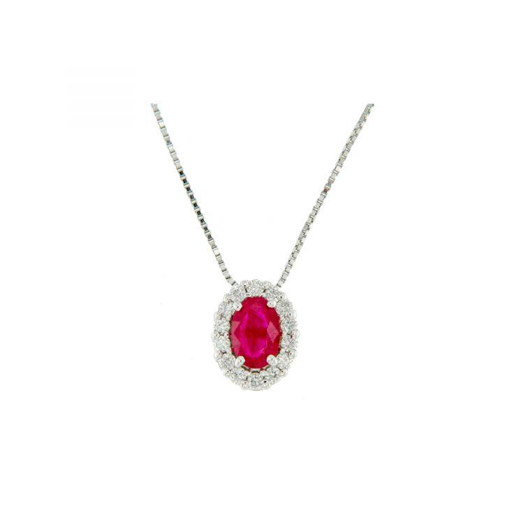 GIOIELLI collana pendente rubino e diamanti diamonds ruby necklace Bon Ton online P6421R