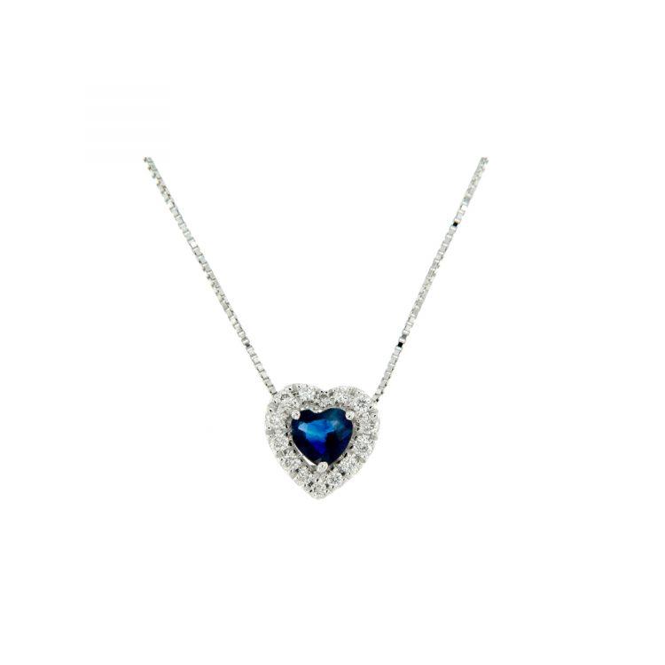 collana pendente zaffiro cuore e diamanti diamonds zaffiro heart necklace Bon Ton online PHRT9Z jewels