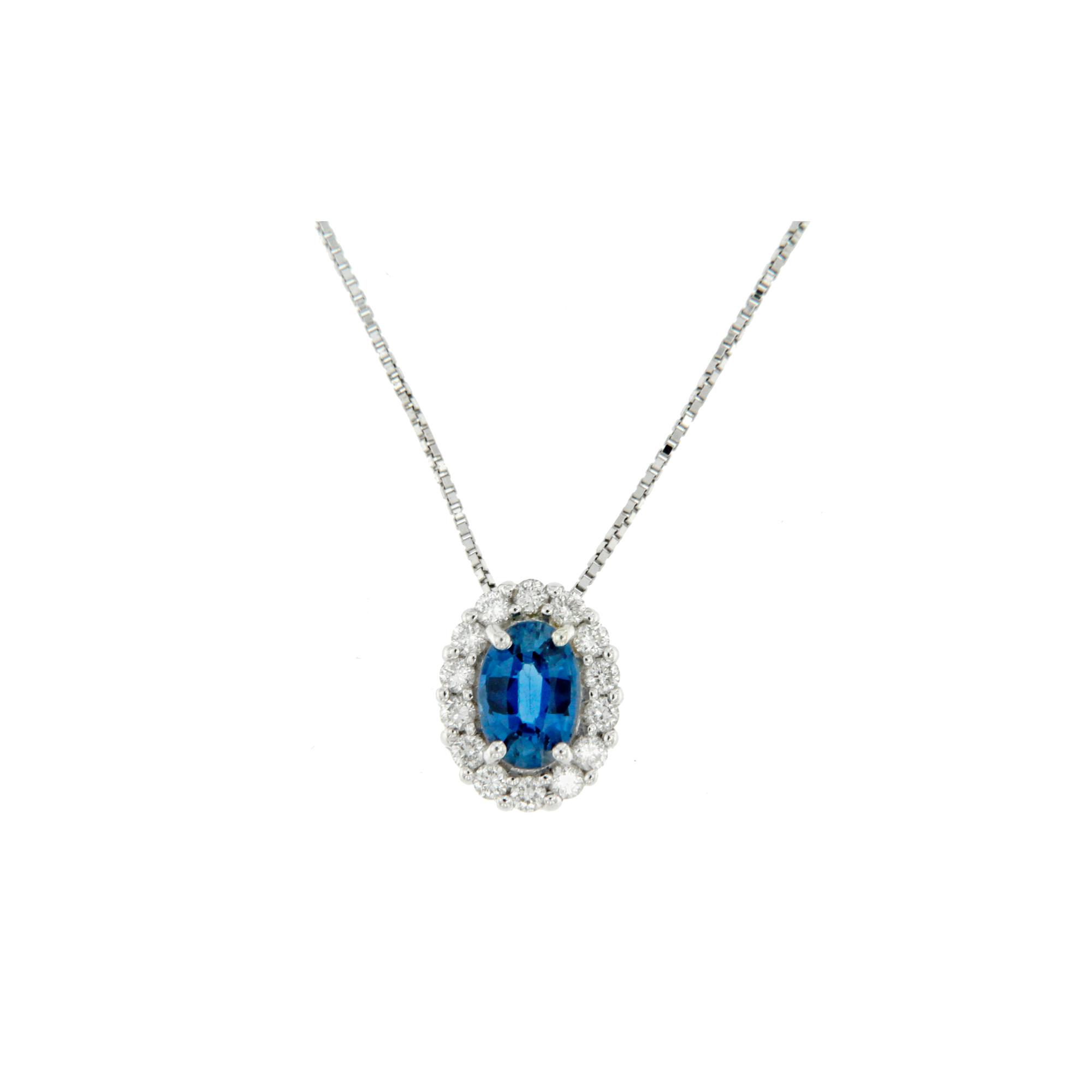 collana pendente zaffiro e diamanti diamonds sapphire necklace Bon Ton online P6421Z