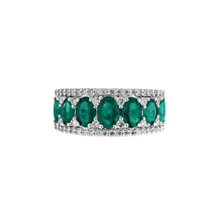 R12085S anello smeraldi e diamanti bon ton emeralds ring diamonds sconto discount