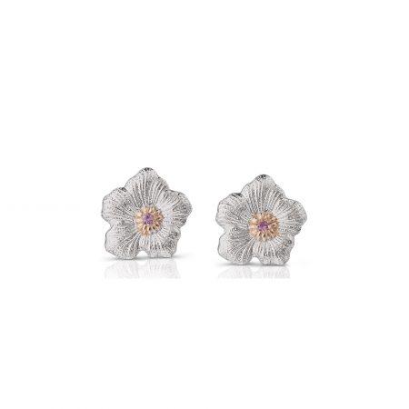 Orecchini Gardenia piccoli Buccellati zaffiri rosa