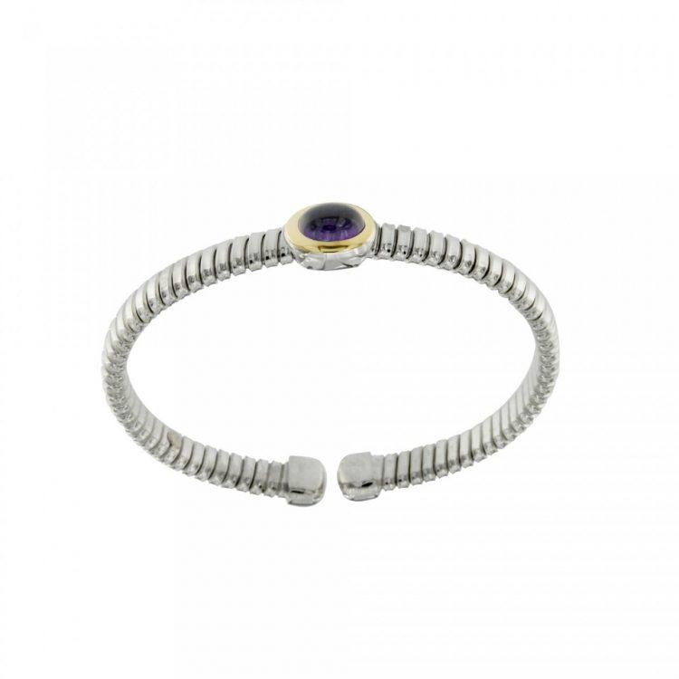 NUOVA bracciale-tubogas-a-molla-in-argento-925-con-testina-in-oro-18ct-e-ametista-BRT026AME-960x960