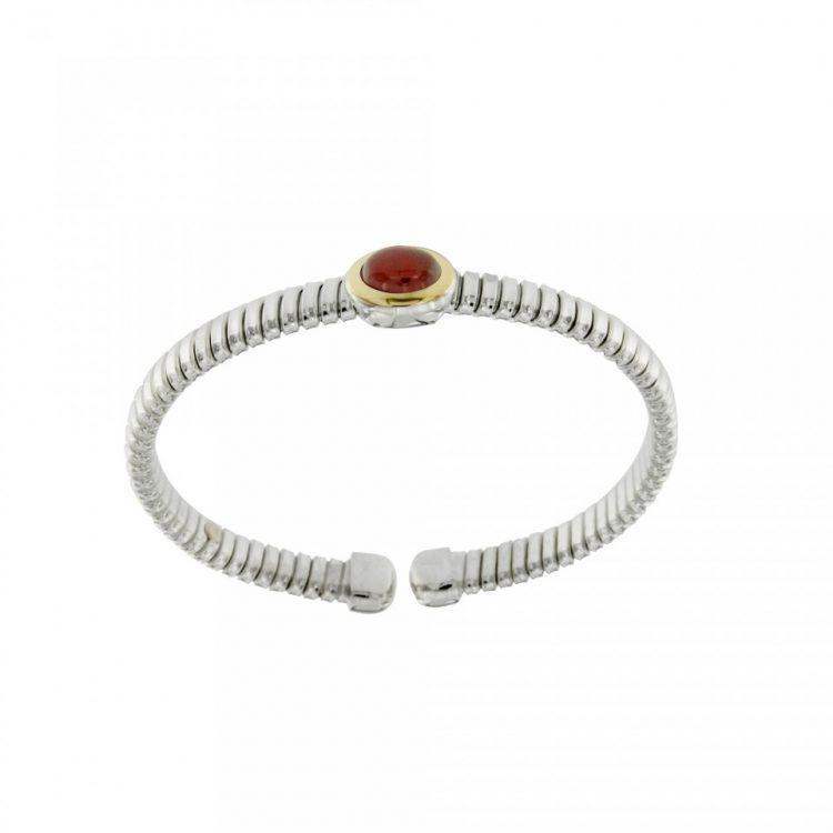 NUOVA  bracciale-tubogas-a-molla-in-argento-925-con-testina-in-oro-18ct-e-corniola-BRT026Cor-960x960