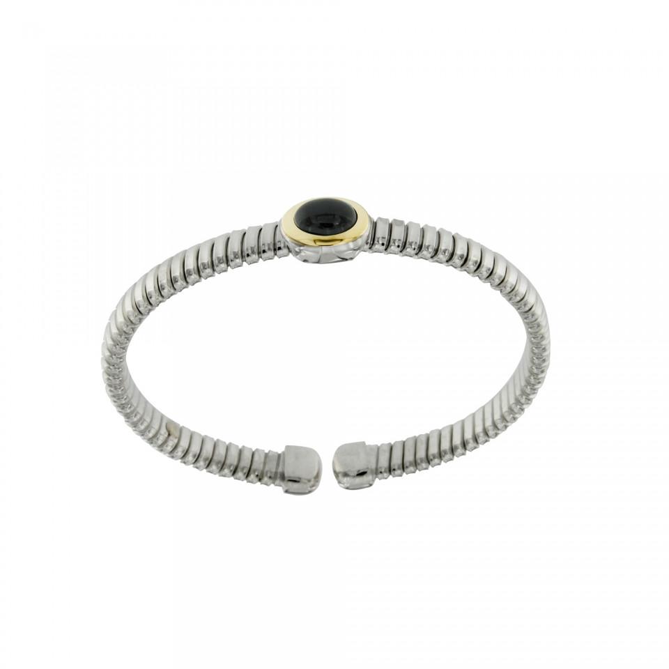NUOVA bracciale-tubogas-a-molla-in-argento-925-con-testina-in-oro-18ct-e-onice-BRT026ON-960x960