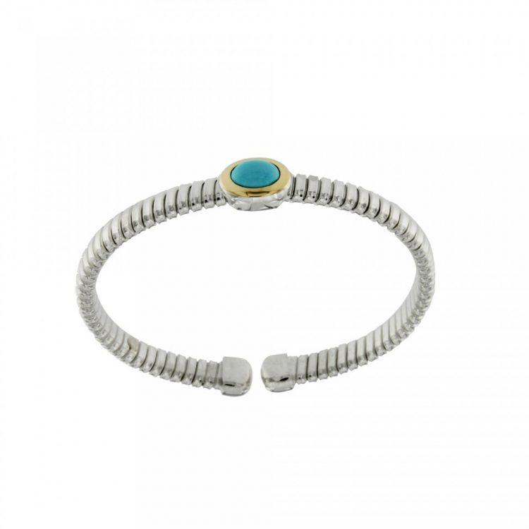 NUOVA bracciale-tubogas-a-molla-in-argento-925-con-testina-in-oro-18ct-e-pasta-di-turchese-BRT026TK-960x960