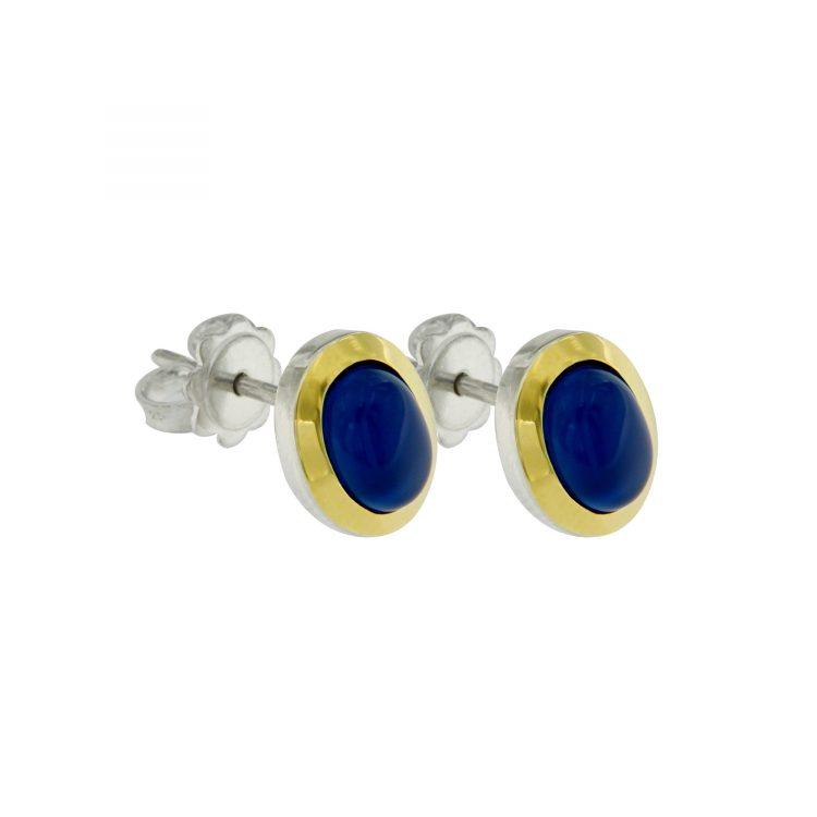 Orecchini Tubogas Argento, oro e agata blu
