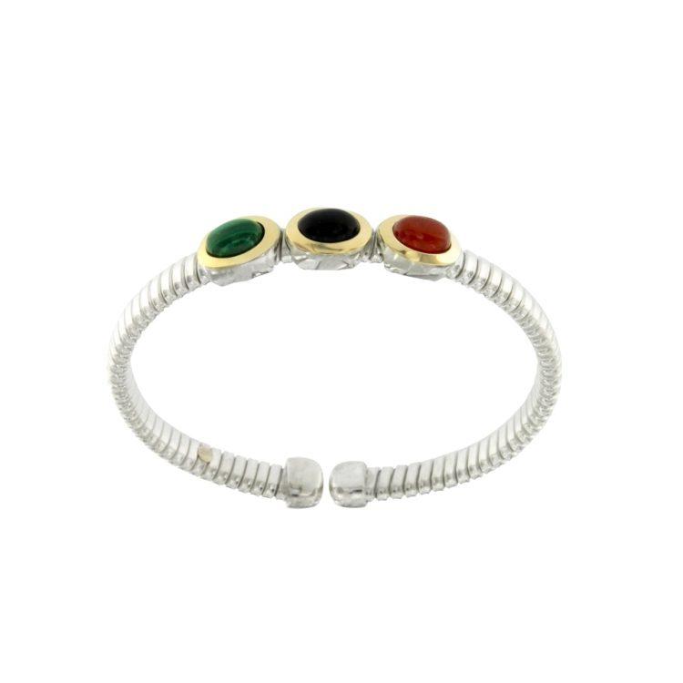 silver-bracelet-bracciale-a-molla-in-argento-925-con-testine-in-oro-18ct-con-malachite-onice-e-corniola-BRT027-sconto-discount-1