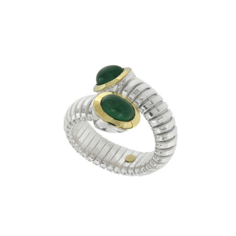 Anello tubogas contrariè argento oro agata verde