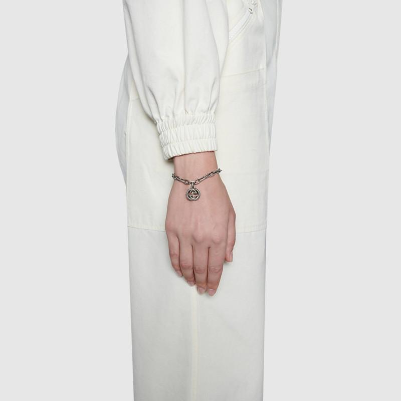 GUCCI-Bracciale-in-argento-con-GG-YBA607158001 bracelet sconto discount Gucci silver