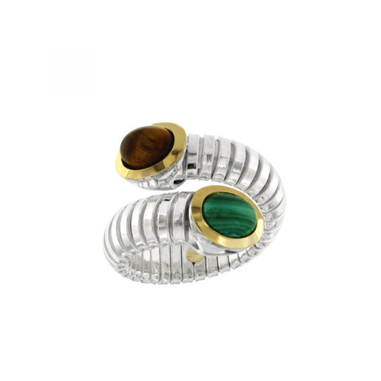 anello tubogas argento malachite occhio di tigre ANT027malodt