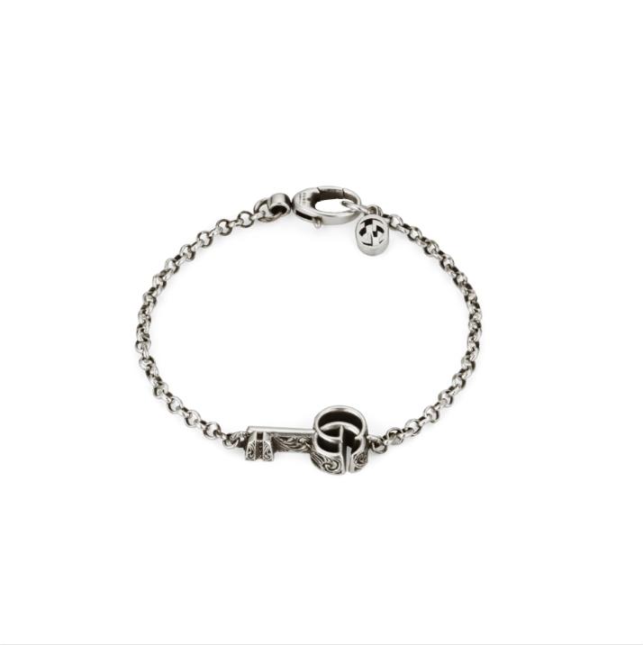 BR632207 bracciale gucci argento intelocking trademark gucci bracelet silver sconto discount