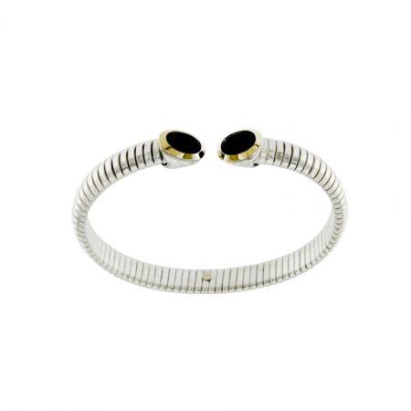 BRT010ONX-bracciale-tubogas-in-argento-925-con-finitura-oro-e-onici- silver bracelet sconto discount onyx